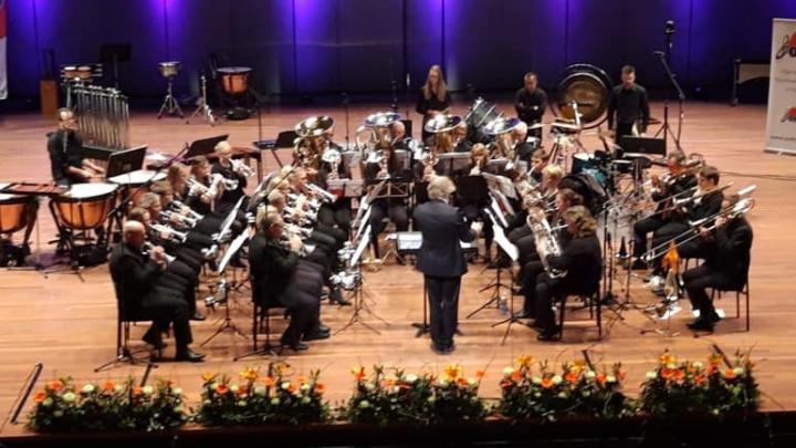 Brassband Apollo zaterdag tijdens het Bondconcours.