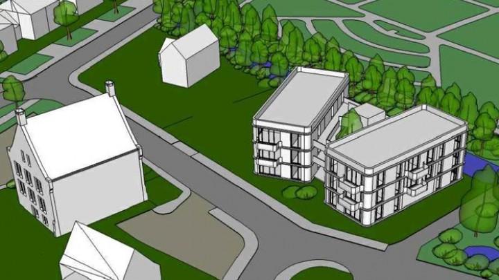 Impressie van de woon-zorgvoorziening voor mensen met een beperking; twee gebouwen met elk 10 wooneenheden.