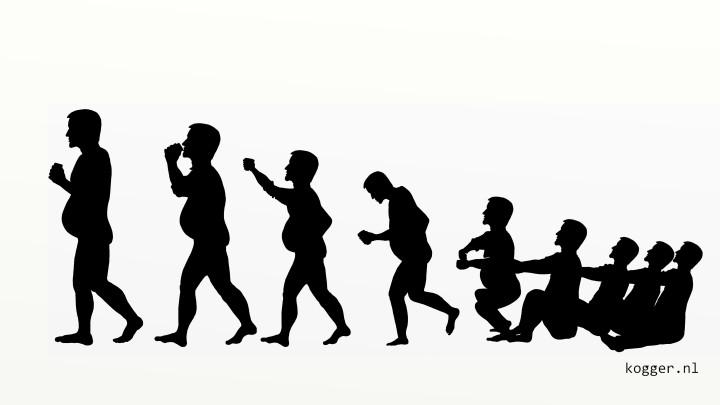 Geinspireerd door de tekeningen over de evolutie van de mens, maakte Kogger er een over de evolutie tijdens de Grouster merke (matinee).