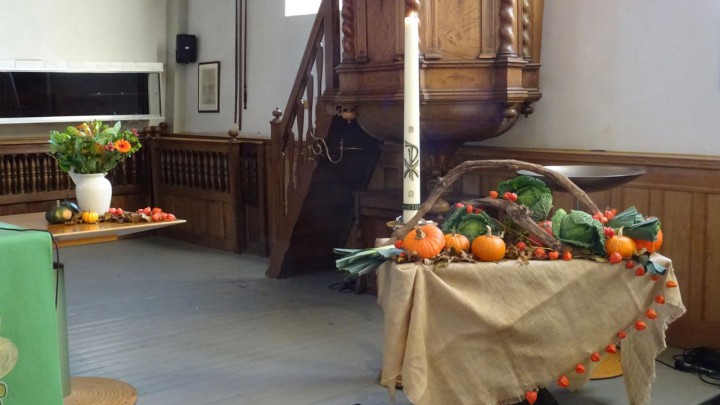 De kerk wordt voor deze oogstdienst elk jaar mooi ingericht door het groepje bloemendames.