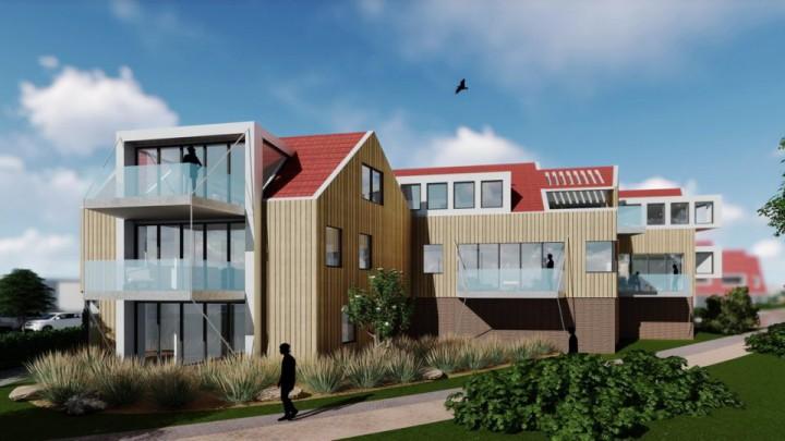 Een impressie van het complex met 6 luxe appartementen, ontwikkeld door Haenes.