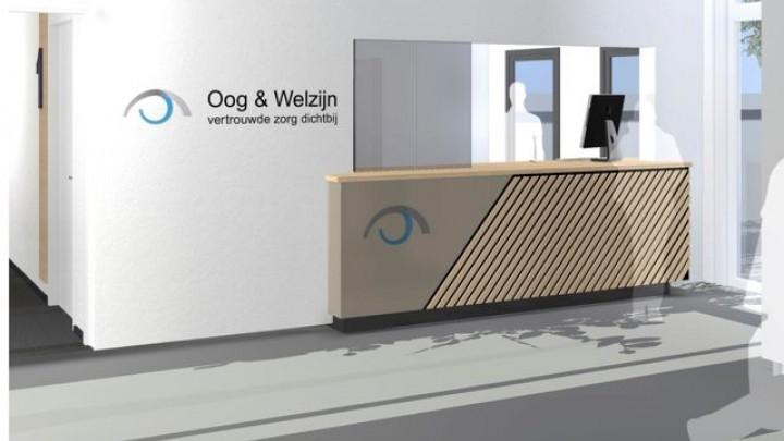 De nieuwe balie van Oog & Welzijn in Dokkum. Die in de nevenvestiging in Grou krijgt dezelfde uitstraling.