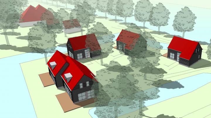 De 'artist-impression' van de woningen van Bouwbedrijf Dijkstra. Eric Kooistra vindt deze woningen niet passend.
