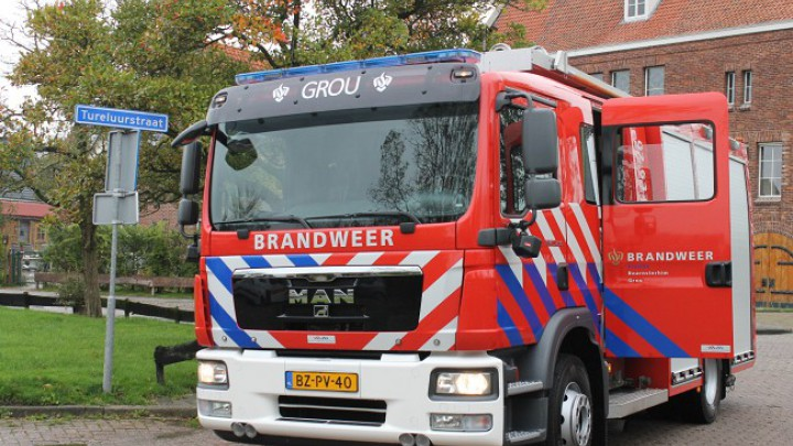 De tankautospuit van Brandweer Grou. (Foto: Kevin v/d Iest)
