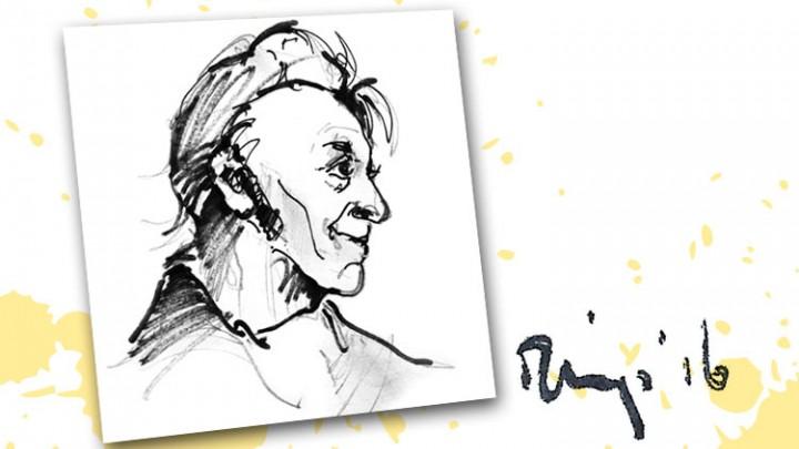 Portret van Gabe Skroar, hoofdpersoon van het gelijknamige theaterspektakel. (Tekening: Hendrik Elings)