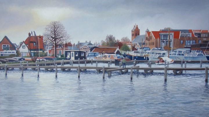 Het olieverfschilderij van Bunt (60x40) met overwinterende jachten in de GWS-haven.