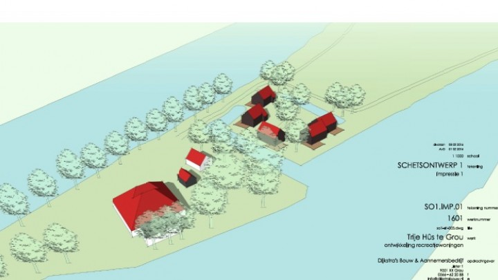 Plan voor 5 recreatiehuizen op eiland Trije Hûs