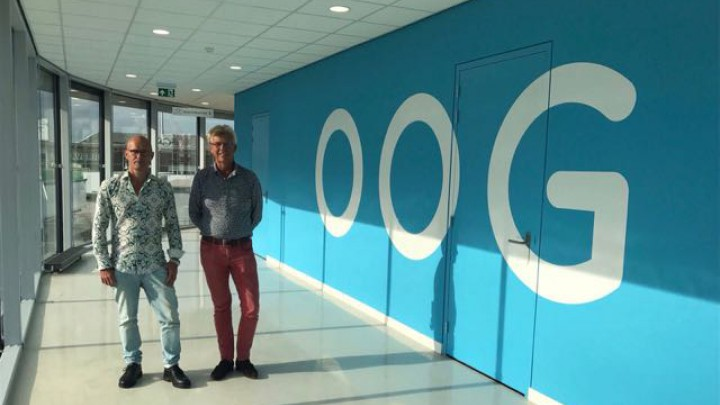De directie, Hans Ligtvoet (links) en Ids Jousma, in het nieuwe onderkomen in Grou.