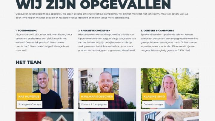 De website van creatief bureau Opgevallen.