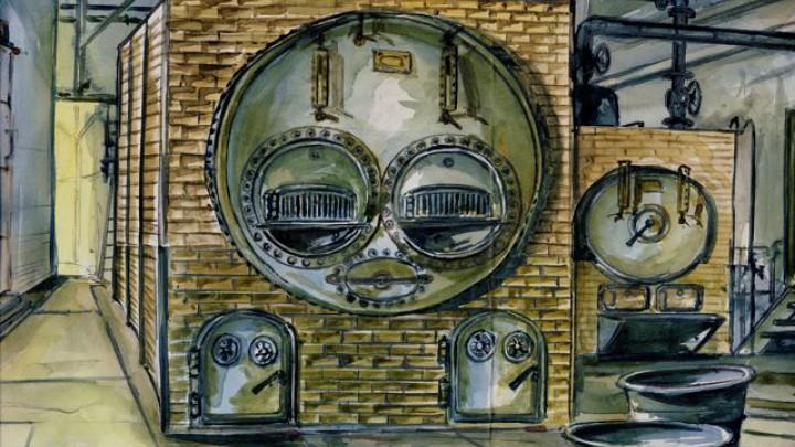 Jan Pieter Rottiné aquarelleerde het ketelhuis van Halbertsma (1926-1980).