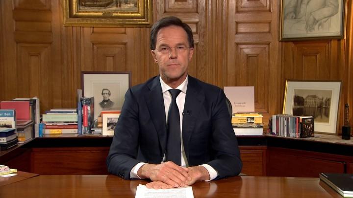 Minister-president Marc Rutte hield vanavond een rechtstreekse toespraak op tv.