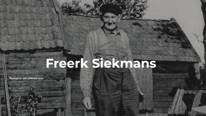Voorpagina van de site van 'Freerk Siekmans: fisker en fûgelflapper'. De ondertitel is: Theater oer in seldsum man.