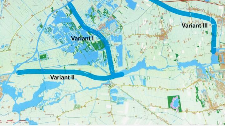 Er zijn 3 varianten voor de aanleg van een vaarweg naar Drachten. Variant II doorkruist het vaargebied bij Grou (uiterst links op de kaart).